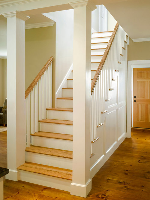 Basement Stairs Design: Farmhouse Staircase Design Ideas, Remodels & Photos
