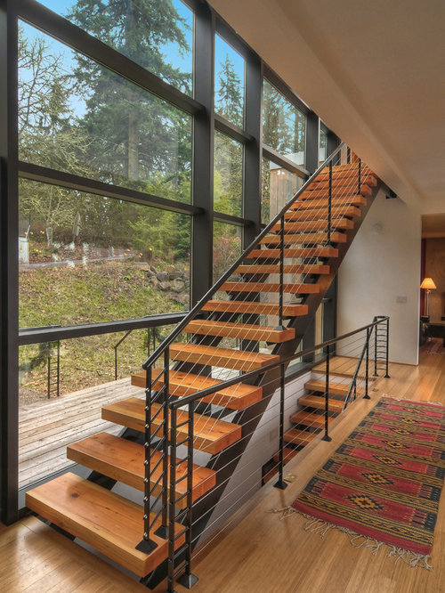 Contemporary Wooden Straight Open Staircase Idea In Other