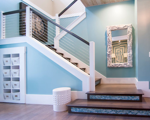 Large Island Style Wooden U Shaped Cable Railing Staircase Photo In  Jacksonville