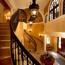 Mediterranean Staircase by Hiland Hall Turner Architects, P.A.