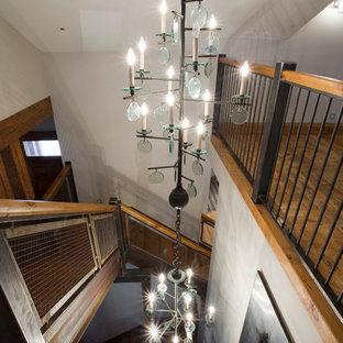 Diseño de escalera curva rural