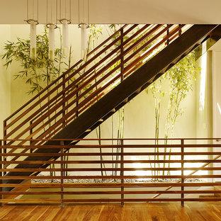 Foto de escalera recta, contemporánea, sin contrahuella