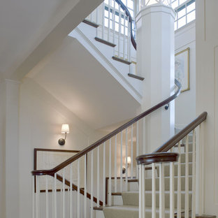Inspiration for a timeless wooden staircase remodel in Boston