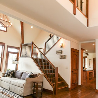 Staircase - mid-sized craftsman wooden u-shaped mixed material railing staircase idea in Other with wooden risers