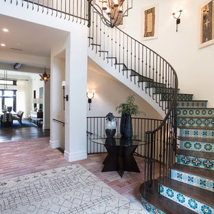 Large mediterranean staircase in Orange County.