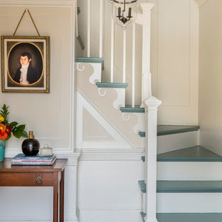 Example Of A Classic Painted L Shaped Staircase Design In Boston