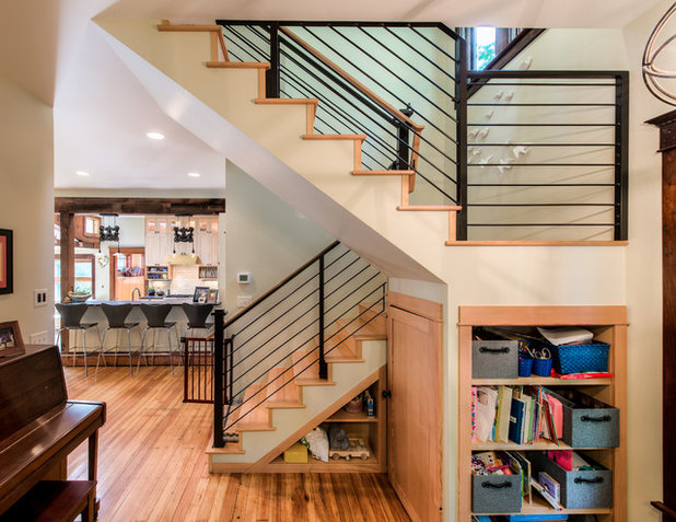 Nice Transitional Staircase by HighCraft Builders