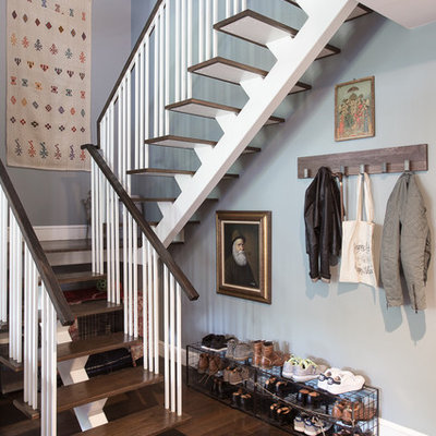 Staircase - transitional wooden u-shaped open and wood railing staircase idea in Other