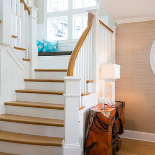 Staircase   Beach Style Wooden U Shaped Wood Railing Staircase Idea In  Philadelphia