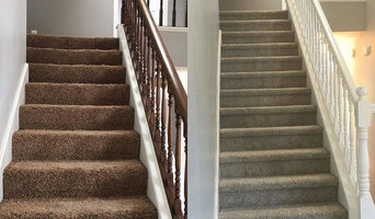 Home remodel, carpet before (left) and after (right).