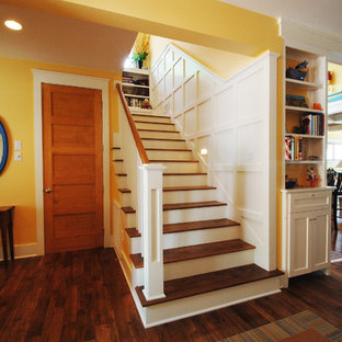 Inspiration For A Small Beach Style Wooden Straight Wood Railing Staircase  Remodel In Kansas City
