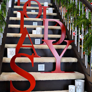 Inspiration for a contemporary staircase remodel in Edmonton