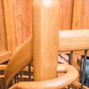 Imagen de escalera suspendida, campestre, extra grande, sin contrahuella, con escalones de madera
