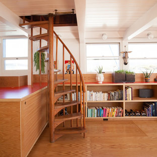 This is an example of a mid-sized scandinavian wood spiral staircase in San Francisco with open risers.