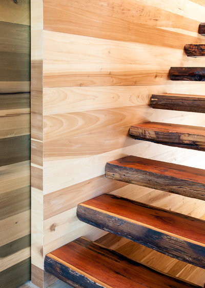 Farmhouse Staircase by HS2 Architecture