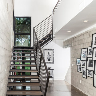 Staircase - industrial l-shaped open and cable railing staircase idea in Tampa