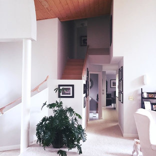 Staircase - mid-sized eclectic wooden l-shaped wood railing staircase idea in Indianapolis with wooden risers