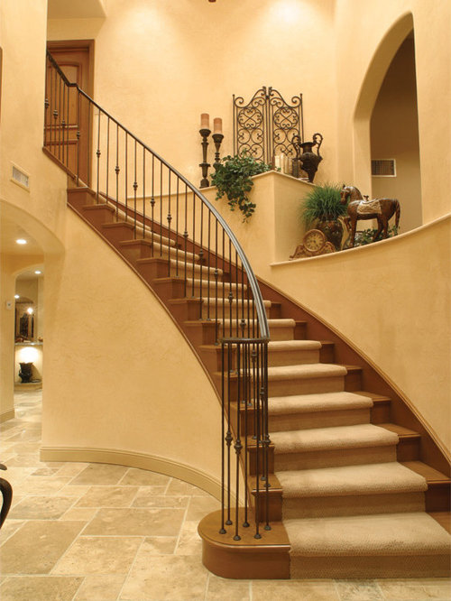 Example Of A Tuscan Staircase Design In Los Angeles