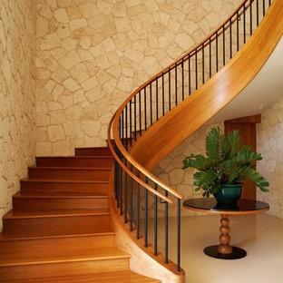 Aménagement d'un escalier courbe exotique avec des marches en bois et des contremarches en bois.