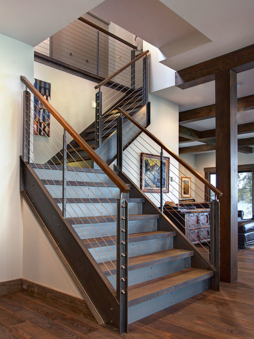 Attractive Large Urban Wooden L Shaped Staircase Photo In Detroit