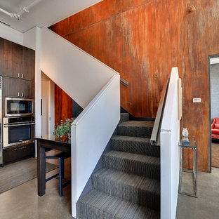 Urban carpeted l-shaped staircase photo in Minneapolis with carpeted risers