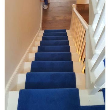 Installing Blue Carpet to Stairs