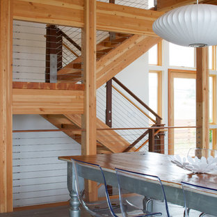 Example of a mid-sized trendy wooden u-shaped open staircase design in Grand Rapids