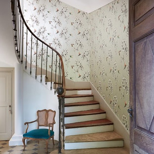 Design ideas for a classic curved metal railing staircase in West Midlands.