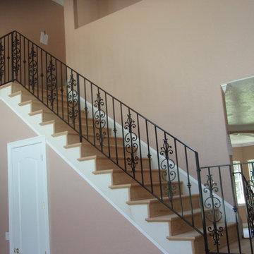 Interior stair rail with picket design