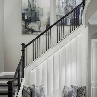 Inspiration for a transitional wooden l-shaped mixed material railing staircase remodel in Orlando