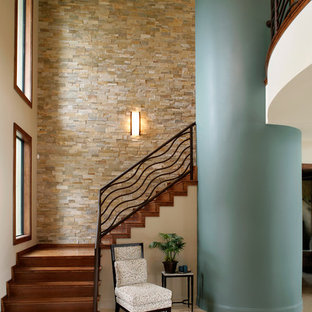 Staircase - contemporary wooden l-shaped staircase idea in Detroit with wooden risers