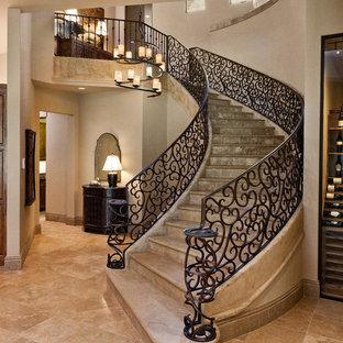 オースティンのタイルのトランジショナルスタイルのおしゃれなサーキュラー階段 (タイルの蹴込み板) の写真