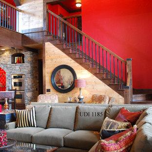 リトルロックのエクレクティックスタイルのおしゃれな階段の写真