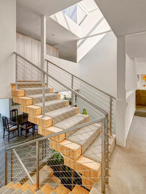 Inspiration For A Mid Sized Contemporary Wooden Cable Railing Staircase  Remodel In Detroit