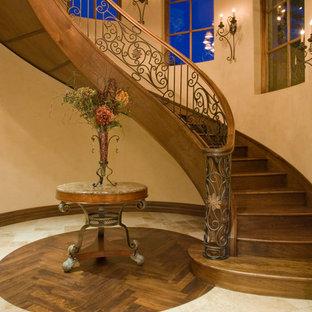 フェニックスの巨大な木の地中海スタイルのおしゃれなサーキュラー階段 (木の蹴込み板) の写真