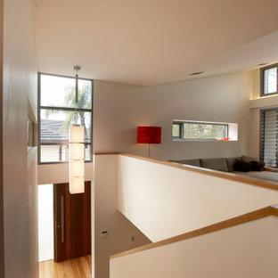 Foto de escalera recta y panelado, contemporánea, de tamaño medio, con escalones de madera, contrahuellas de madera, barandilla de varios materiales y panelado