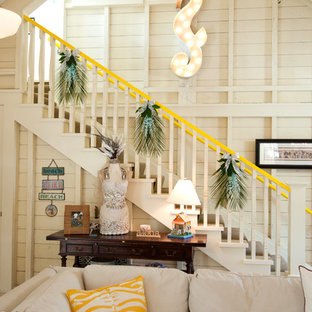Example of an eclectic straight staircase design in San Francisco