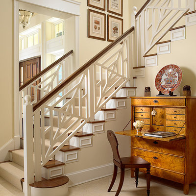 Inspiration for a mid-sized timeless wooden l-shaped staircase remodel in Miami with painted risers