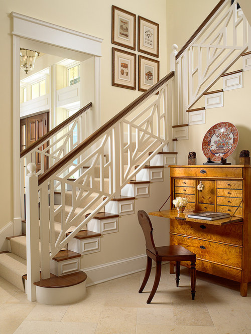 Inspiration For A Mid Sized Timeless Wooden L Shaped Staircase Remodel In  Miami