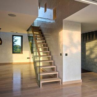 Diseño de escalera recta, contemporánea, con escalones de madera y contrahuellas de vidrio