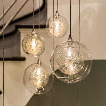 KADUR   Custom Cascade Bubble Blown Glass Chandelier   Two-story Chandelier