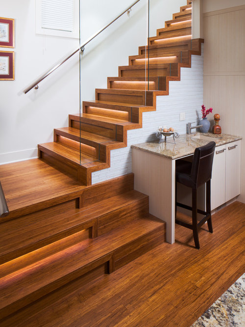 Inspiration For A Mid Sized Contemporary Wooden L Shaped Glass Railing  Staircase Remodel In