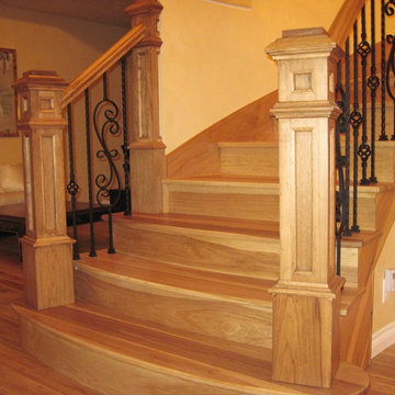 king newel post hickory stair project