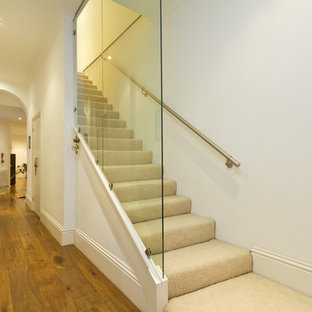 Contemporary Carpeted Staircase In London With Carpeted Risers.