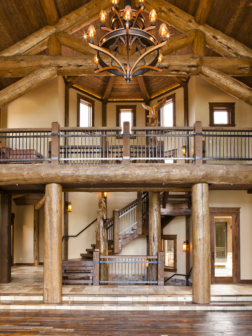 Log Railings Colorado ~ Log cabin staircase railing home design ideas pictures