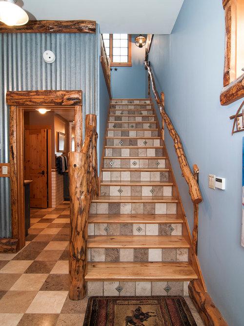 Fotos de escaleras dise os de escaleras r sticas con contrahuellas con baldosas y o azulejos - Escaleras rusticas ...