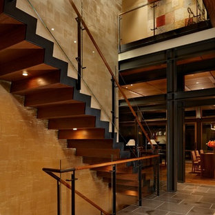 Inspiration for a contemporary straight staircase remodel in Seattle