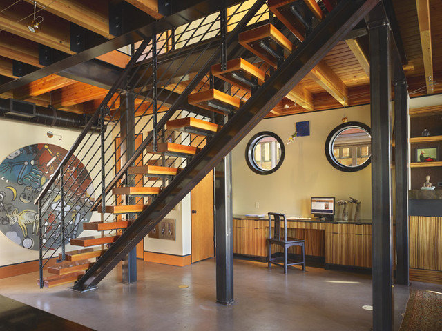 Industrial Staircase by Dan Nelson, Designs Northwest Architects