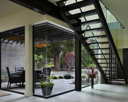 Modern straight open staircase idea in Seattle