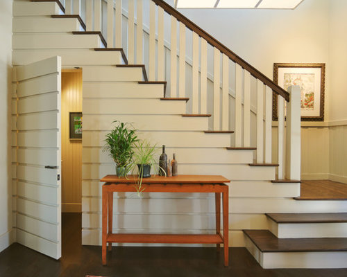 inspiration for a timeless wooden l shaped staircase remodel in other